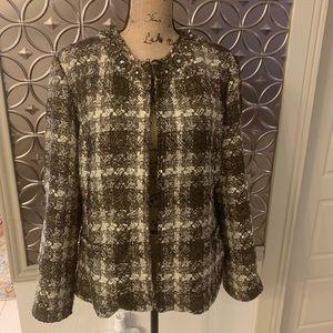 Chico's Women's Size 2 Brown Tweed Blazer